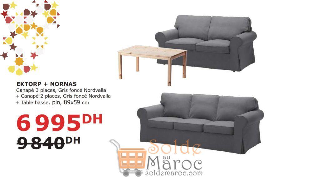 Soldes Ikea Maroc 2 Canapé + Table basse EKTORP/NORNAS 6995Dhs au lieu de 9840Dhs