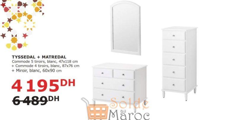 Solde Ikea Maroc 2 Commodes 4/5 Tiroirs + Moroir Blanc 4195Dhs au lieu de 6489Dhs