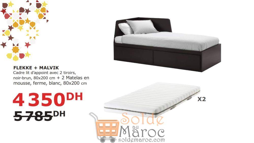 Soldes Ikea Maroc Cadre lit avec 2 tiroirs + 2 Matelas 4350Dhs au lieu de 5785Dhs