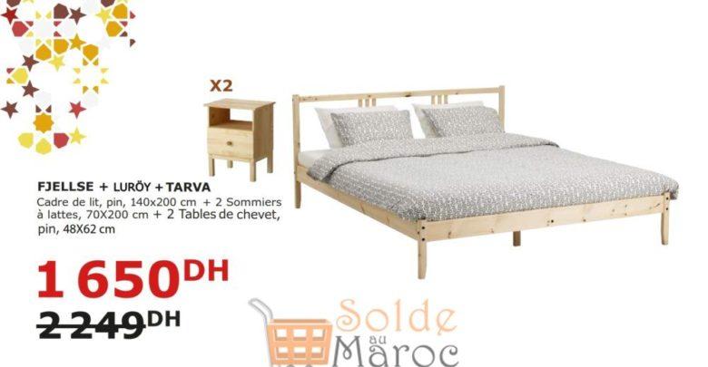 Soldes Ikea Maroc Cadre de lit + 2 Sommiers + 2 Tables de chevet 1650Dhs au lieu de 2249Dhs