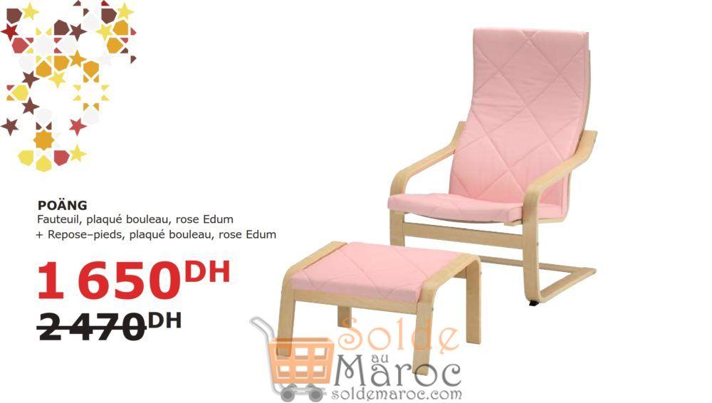 Soldes Ikea Maroc Fauteuil + repose-pieds Rose POANG 1650DHs au lieu de 2470Dhs