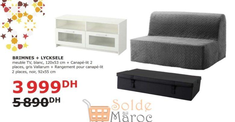 Soldes Ikea Maroc Meuble TV + Canapé-lit + son Rangement 3999Dhs au lieu de 5890DHs