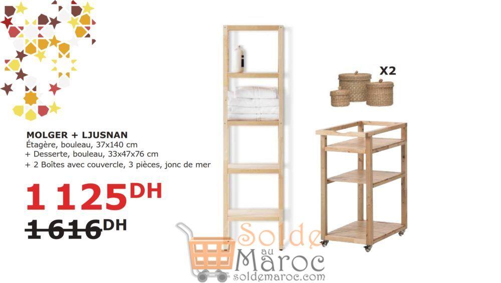 Soldes Ikea Maroc Sélection MOLGER + LJUSNAN Étagère + Desserte + Boites 1125Dhs au lieu de 1616Dhs