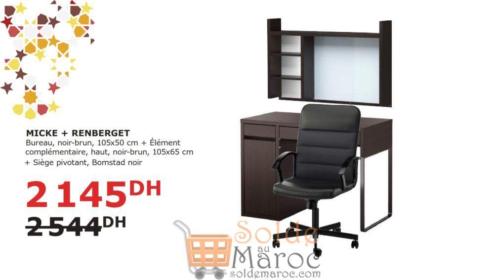 Soldes Ikea Maroc Bureau avec son élément + Siège Pivotant 2145Dhs au lieu de 2544DHs