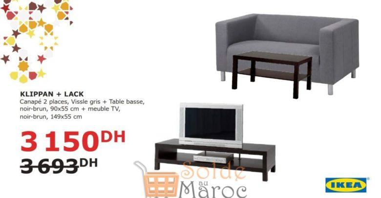 Photo of Soldes Ikea Maroc Ensemble KLIPPAN LACK Canapé + Table basse 3150Dhs