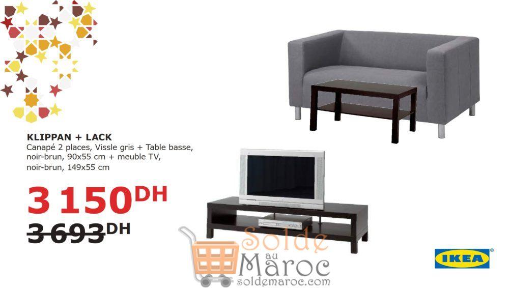 Soldes Ikea Maroc Ensemble KLIPPAN LACK Canapé + Table basse 3150Dhs au lieu de 3693Dhs