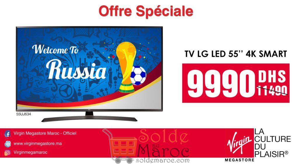 """Offre Spéciale Virgin Megastore Maroc Smart TV LG 55"""" 4K 9990Dhs au lieu de 11490Dhs"""