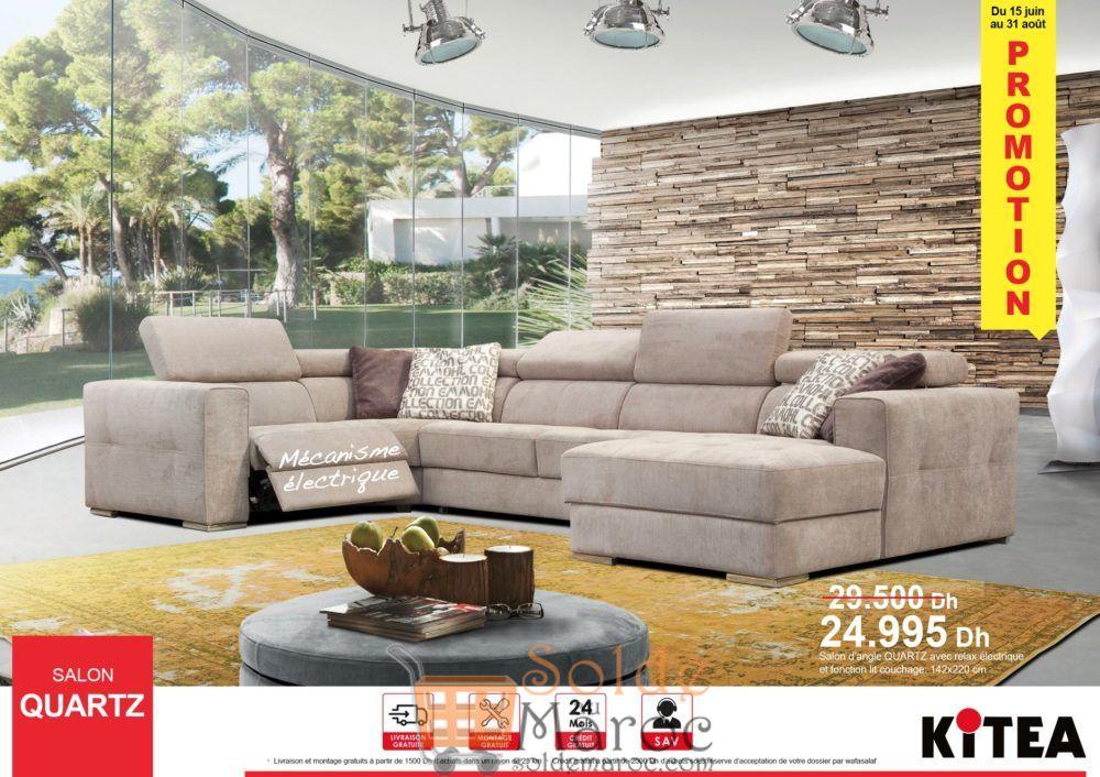 Promo Kitea Salon QUARTZ avec Relax électrique 24900Dhs au lieu de 29500Dhs