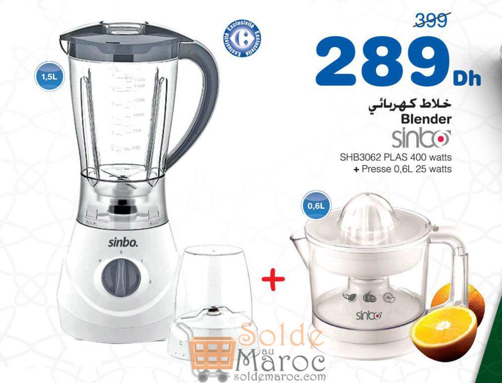 Promo Carrefour Maroc Blender + Presse-agrume SINBO 289Dhs au lieu de 399Dhs