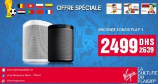 Promo Virgin Megastore Maroc Enceinte Sonos Play 2499Dhs au lieu de 2639Dhs
