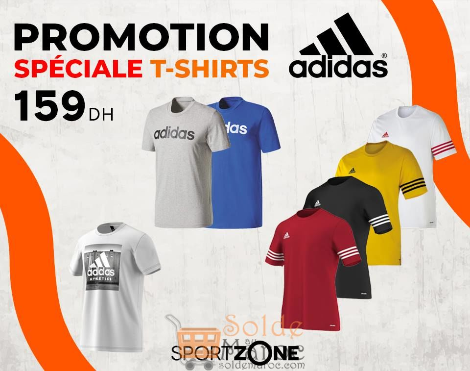 Soldes Sport Zone Maroc Spéciale Promo Tee-shirt Adidas 159Dhs