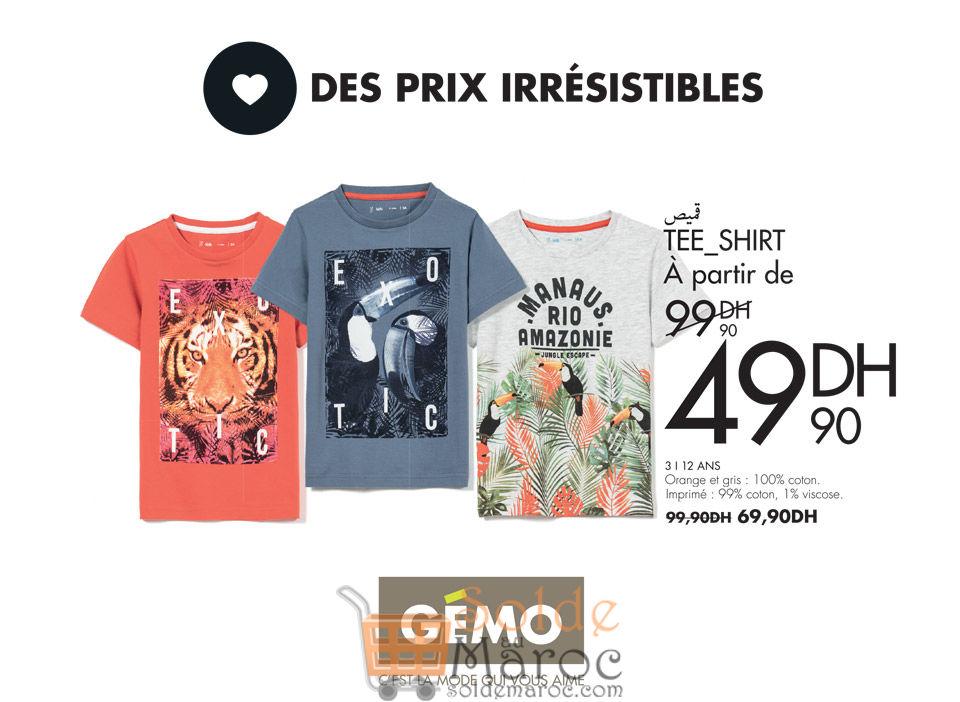 Solde Gémo Maroc Tee-shirt Garçon 49Dhs au lieu de 99Dhs