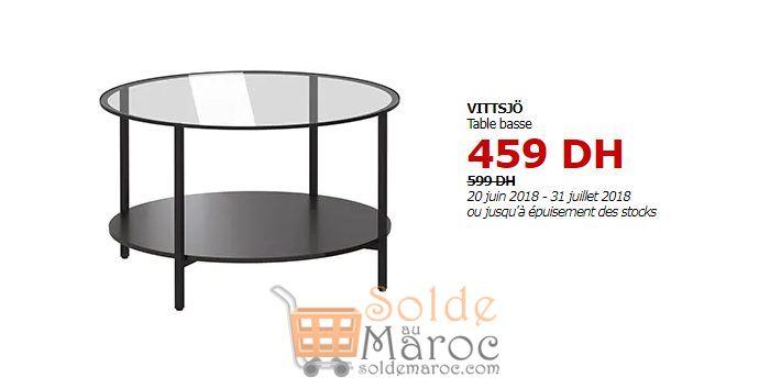 Soldes Ikea Maroc Table basse VITTSJÖ 459Dhs au lieu de 599Dhs