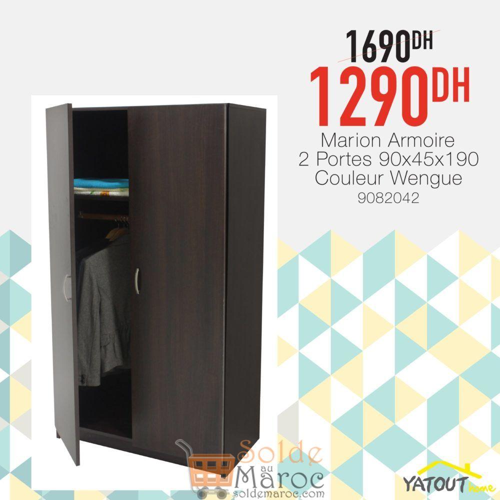 Soldes Yatout Home Armoir Marion 2 Portes 1290Dhs au lieu de 1690Dhs