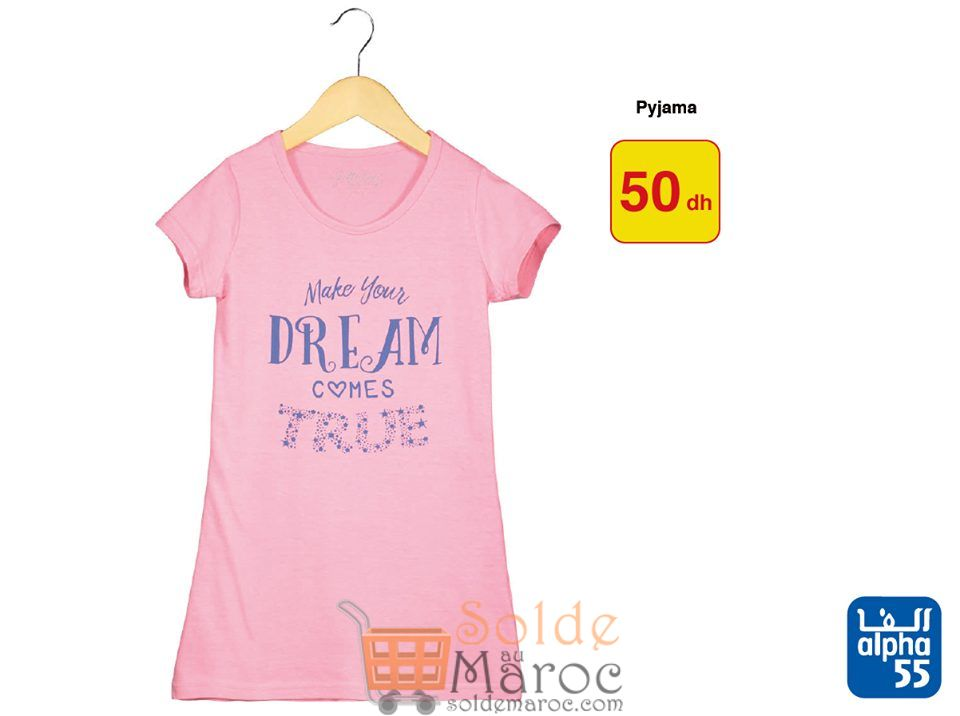 Promo Alpha55 Pyjama Filles tout à 50Dhs