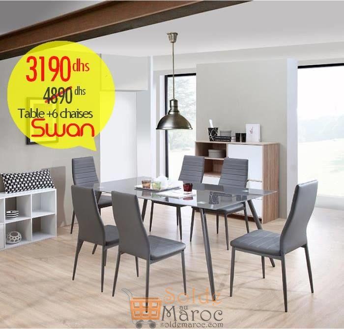 Promo Azura Home Table + 6 Chaises SWAN 3190Dhs au lieu de 4890Dhs