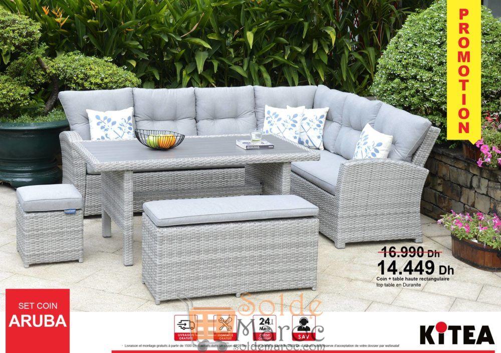 Promo Kitea Set Coin + Table haute ARUBA 14449Dhs au lieu de 16990Dhs