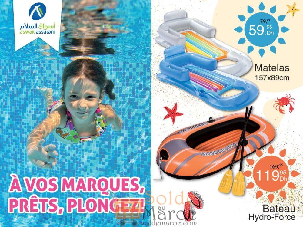 Promo Aswak Assalam Matelas de plage et Bateau Hydro-Force