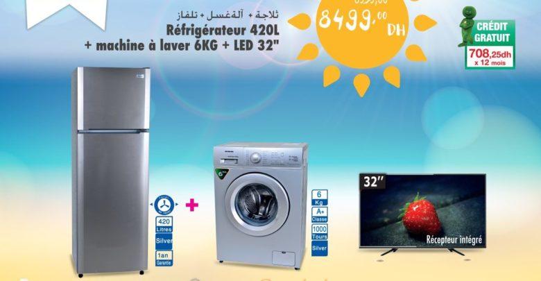 Photo of Promo Aswak Assalam Pack SILVERLINE Réfrigérateur et Led 32″ et Lave-linge 8499Dhs
