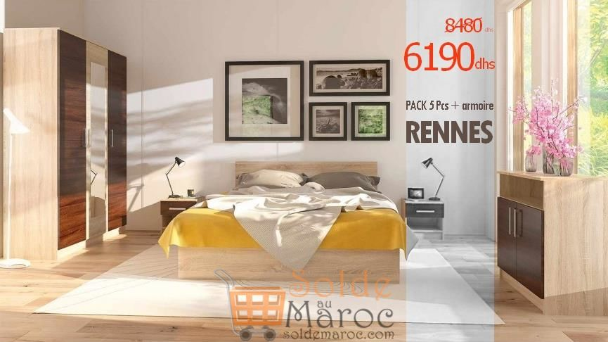 Promo Azura Home CHAMBRE COMPLÈTE RENNES 6190Dhs au lieu de 8480Dhs