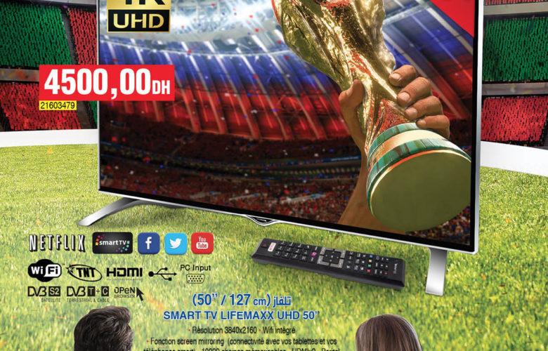 "Promo Bim Maroc Région Mohamedia Smart TV Lifemaxx 50"" 4K 4500Dhs"
