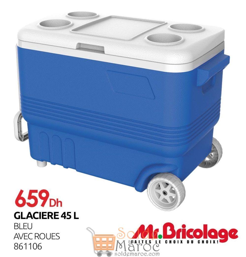 Nouveau chez Mr Bricolage Maroc Glacière 45L bleu avec roues 659Dhs