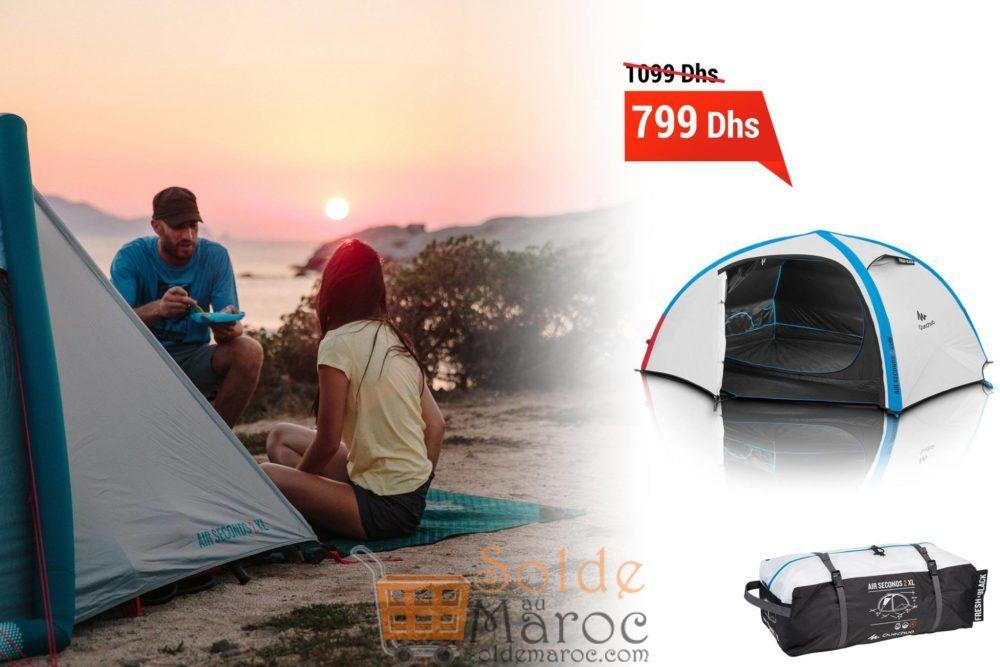 Promo Decathlon Tente de camping air seconds xl 2 personnes fresh&black 799Dhs au lieu de 1099DHs