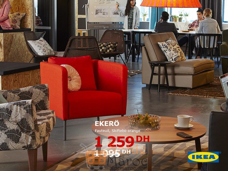 Soldes Ikea Maroc Fauteuil EKERO Orange 1259Dhs au lieu de 1995Dhs