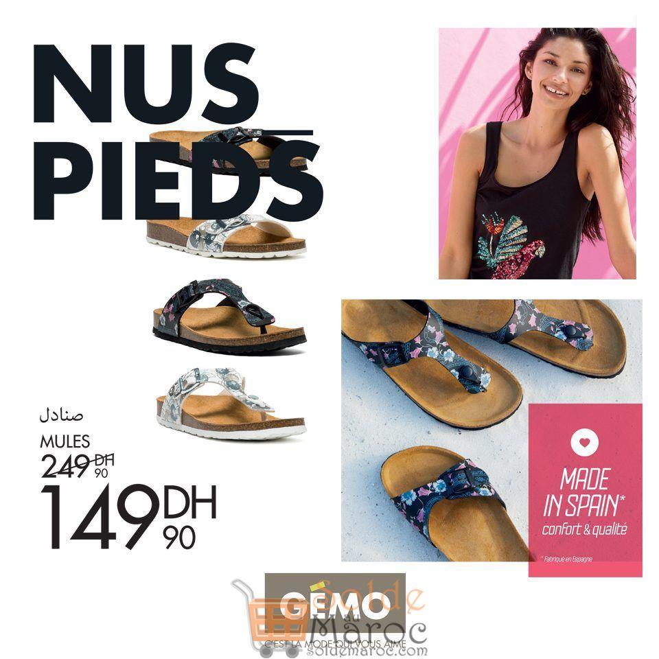 Promo Gémo Maroc Mules Pieds nus 149Dhs au lieu de 249Dhs