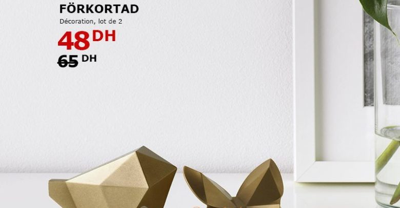 Soldes Ikea Maroc lot de 2 Décorations FÖRKORTA 48 Dhs au lieu de 65Dhs