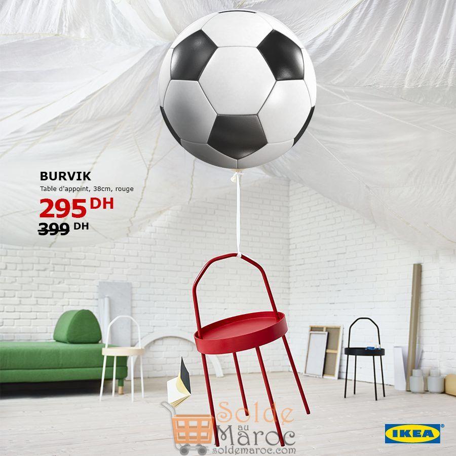 Soldes Ikea Maroc Table d'appoint rouge 295Dhs au lieu de 399Dhs