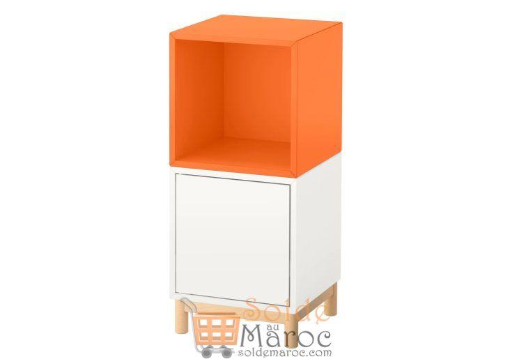 Promo Ikea Maroc Ensemble d'éléments avec pieds EKET blanc orange 673Dhs au lieu de 850Dhs