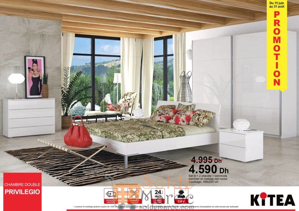 Promo Kitea Chambre PRIVILEGIO Set lit + 2 chevets + Commode 4590Dhs au lieu de 4995Dhs