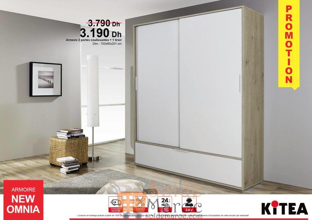 Promo Armoire NEW OMNIA aux deux portes coulissantes avec tiroir 3190Dhs au lieu de 3790 Dh
