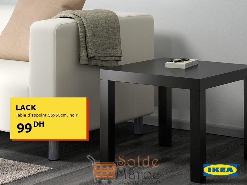 Offre Spéciale Ikea Maroc Table d'appoint LACK noir 99Dhs