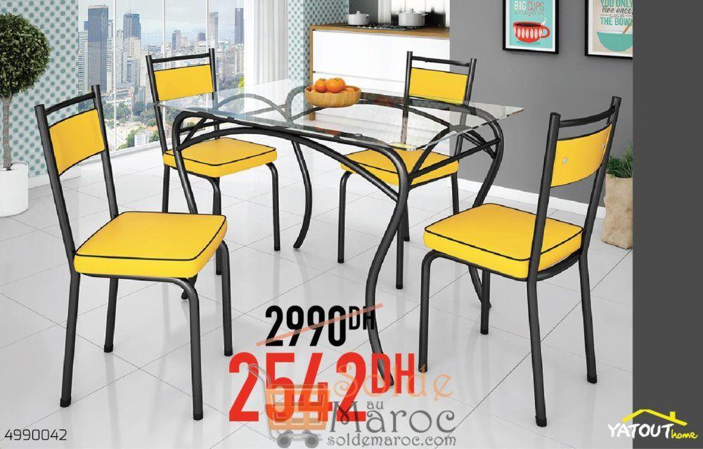 Soldes Yatout Home LION table à Manger en Verre + 4Chaises 2542Dhs au lieu de 2990Dhs
