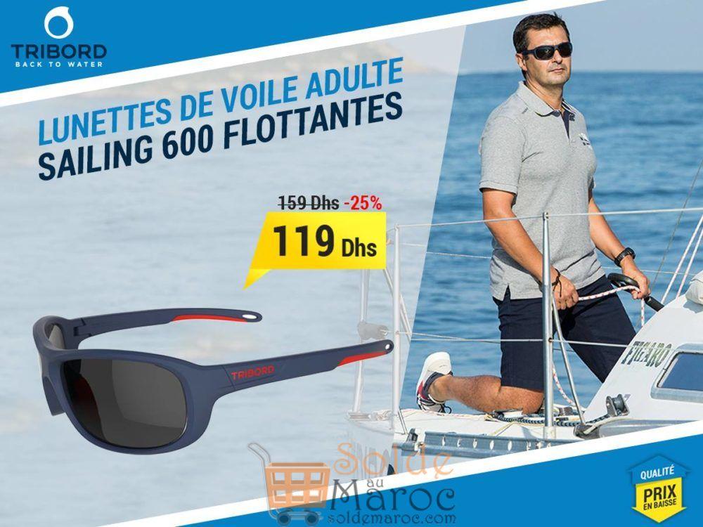 Promo Decathlon Lunettes de voile adulte SAILING 600 flottantes bleues & rouges 119Dhs au Lieu de 159Dhs