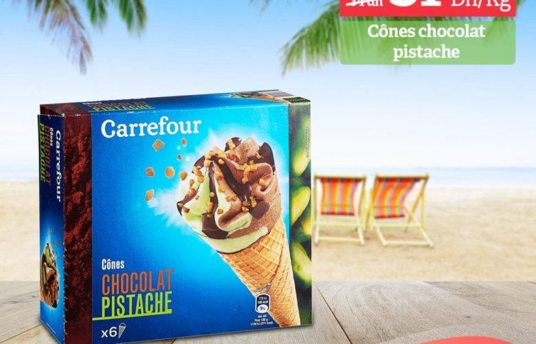 Promo Carrefour Market Lot de 6 Cône Choco Pistache 31.50Dhs au lieu de 34Dhs