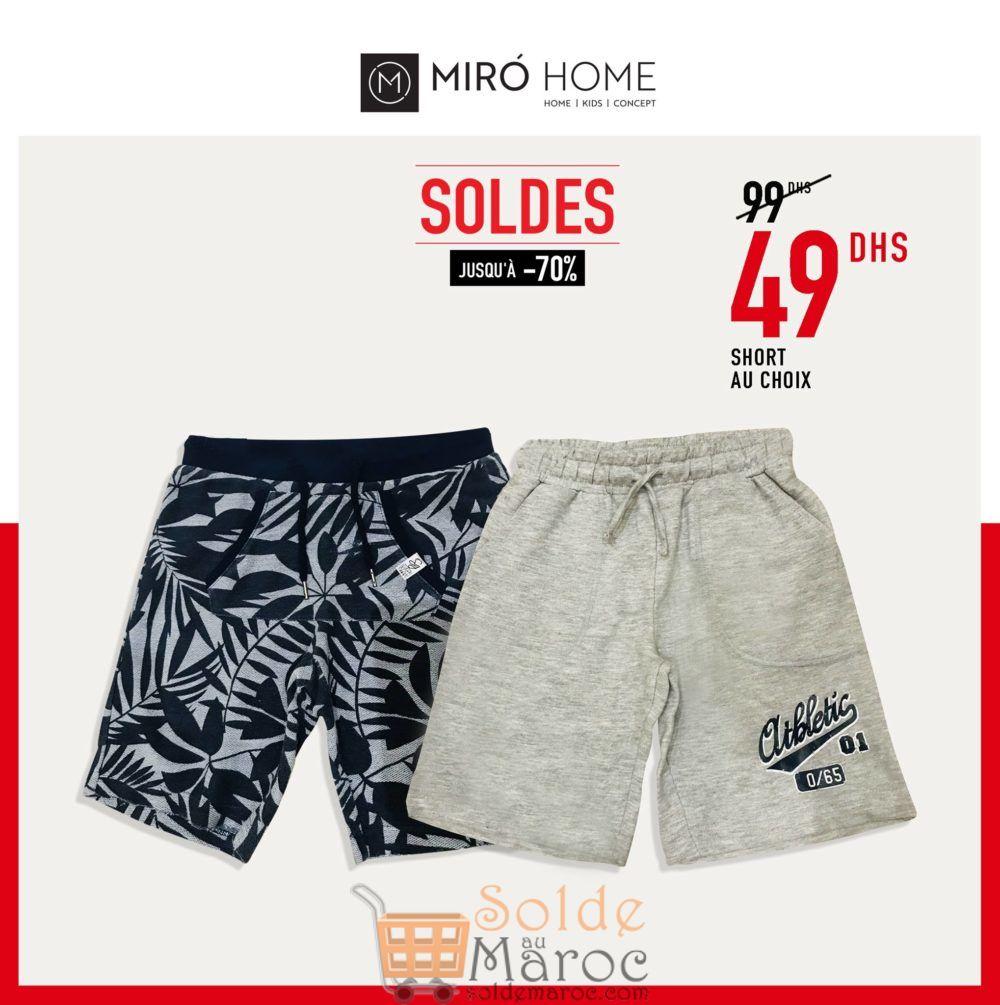 Soldes Miro Home Short au choix pour Garçon 49Dhs au lieu de 99Dhs