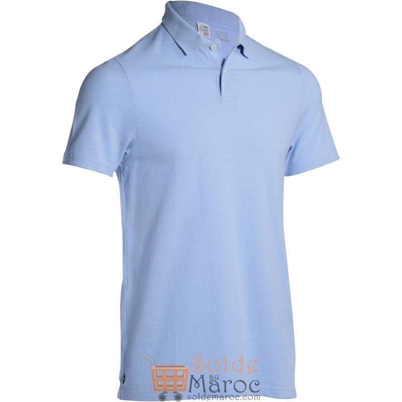 Promo Decathlon Polo de golf homme manches courtes 100 temps tempéré bleu ciel 39Dhs au lieu de 59Dhs