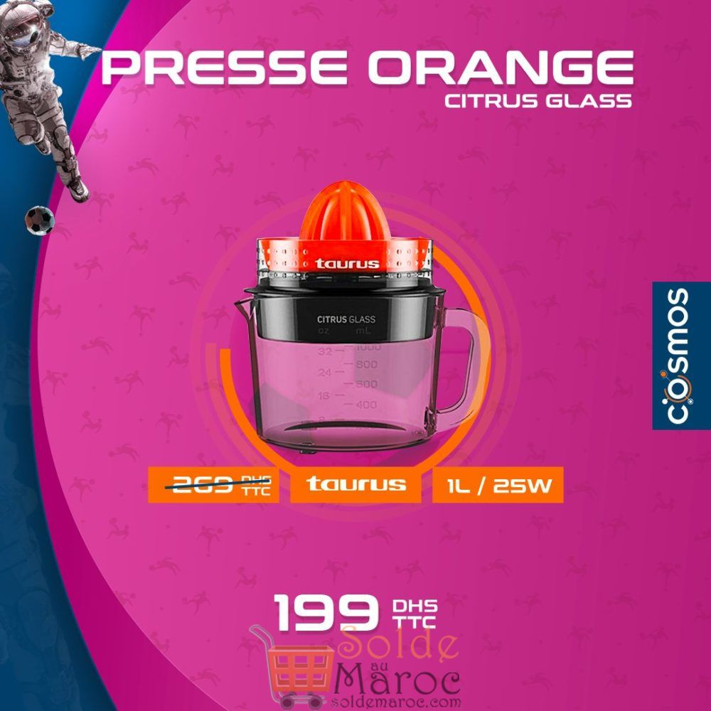 Promo Cosmos Electro Presse-agrume TAURUS 1L 199Dhs au lieu de 269Dhs