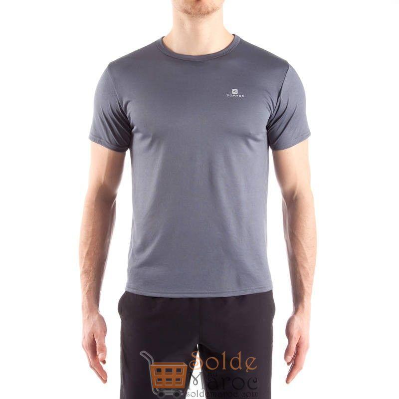 Promo Decathlon T-shirt fitness cardio homme gris FTS100 39Dhs au lieu de 59Dhs