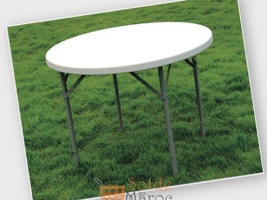 Promo Aswak Assalam TABLE PLIANTE RONDE 116CM 499Dhs au lieu de 599Dhs