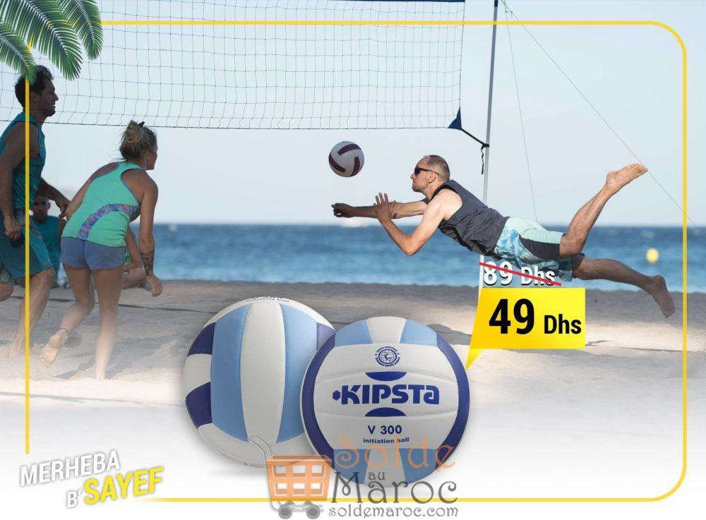 Promo Decathlon Ballon de volley-ball V300 blanc et bleu 49Dhs au lieu de 89Dhs