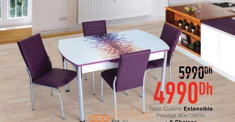 Promo Yatout Home Table Cuisine Extensible Prestige 80x120 cm +6 Chaises 4990Dhs au lieu de 5990Dhs