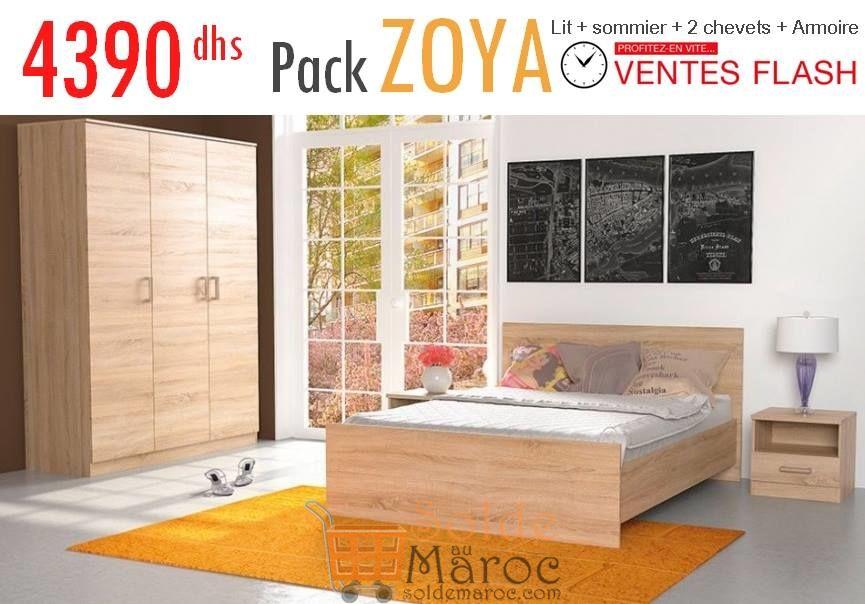 Promo Azura Home CHAMBRE COMPLÈTE ZOYA AVEC ARMOIRE 4390Dhs au lieu de 5990Dhs