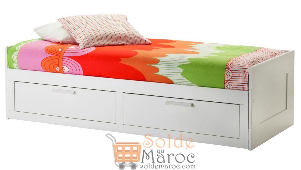 Soldes Ikea Maroc Cadre lit d'appoint avec 2 tiroirs BRIMNES 1995Dhs au lieu de 2650Dhs