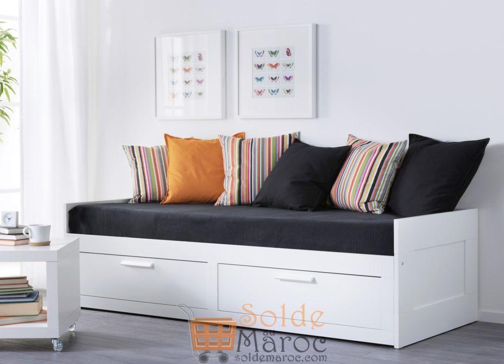 soldes ikea maroc cadre lit d appoint avec 2 tiroirs. Black Bedroom Furniture Sets. Home Design Ideas