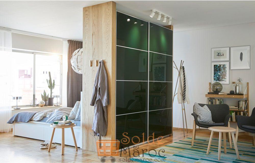 Soldes Ikea Maroc Penderie PAX blanc Hokksund ultra-brillant vert foncé 9880Dhs au lieu de 11510Dhs
