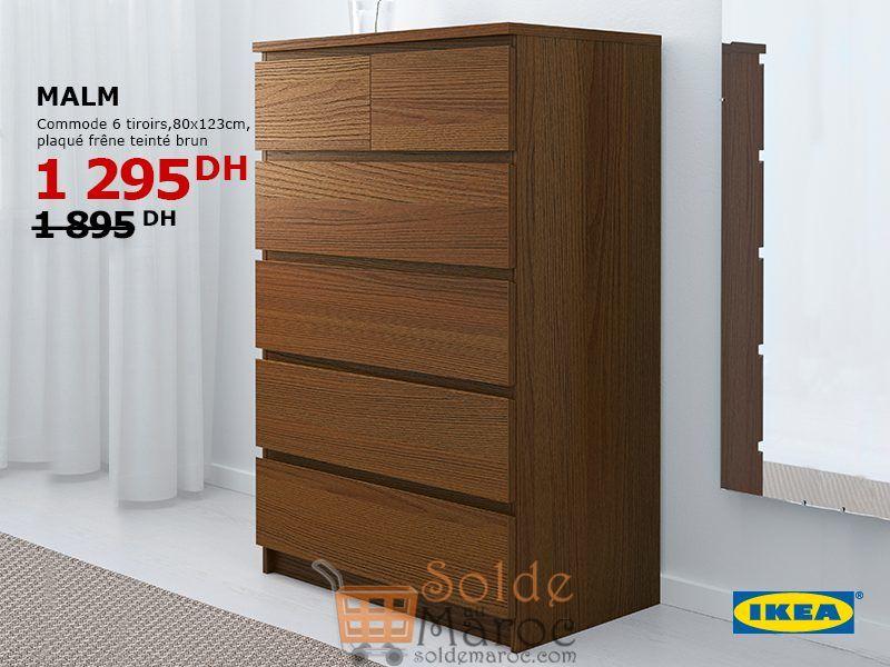 Soldes Ikea Maroc Commode 6 tiroirs MALM 1295Dhs au lieu de 1895Dhs